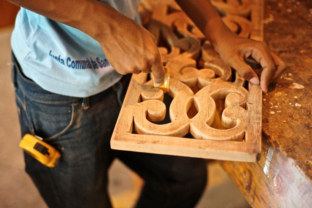 Stock Photo: 4271-1094 Panama, Old Panama, San Felipe, Students learning joinery and carpentry at workshop training school (ETP), project financed by AECID