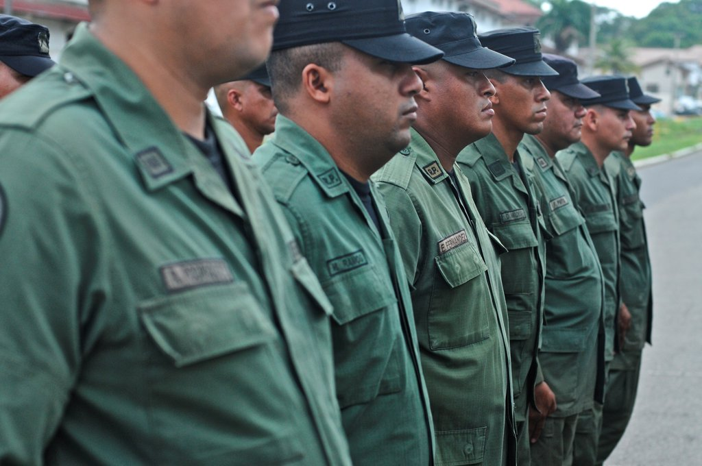 Stock Photo: 4271-1270 Panamanian National Police forces marching, Panama