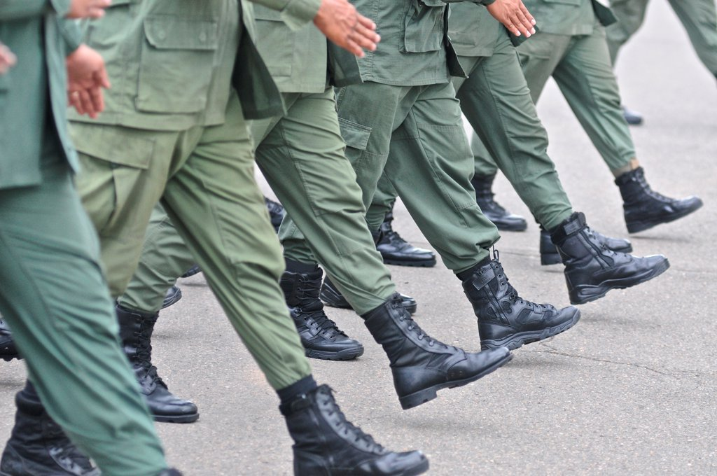 Stock Photo: 4271-1298 Policemen marching at Panamanian National Police forces, Panama