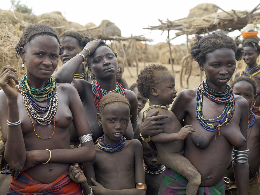 Stock Photo: 4272-10613 A group of Dassanech women and children at a village situated close to the Omo River.  All the villagers food reserves are stored in semicircular granaries, which are kept well off the ground in case of flooding.The Dassanech speak a language of Eastern Cushitic origin. They live in the Omo Delta and they practice animal husbandry and fishing as well as agriculture.