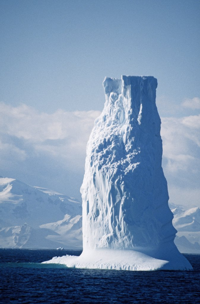 Stock Photo: 4272-1076 Antarctica, Gerlache Strait. Columnar iceburg.