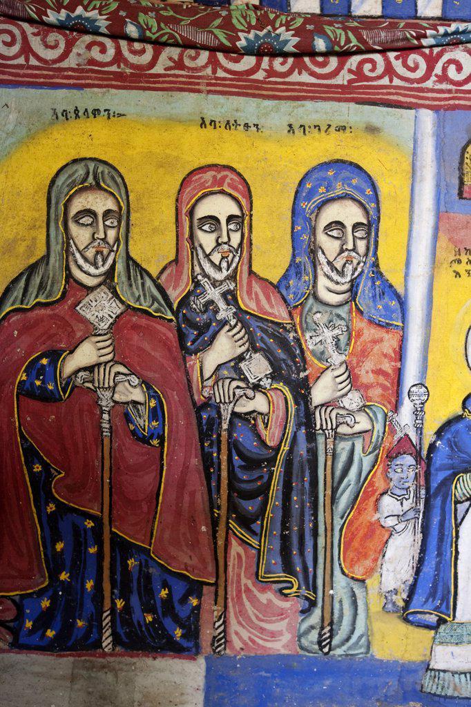 Stock Photo: 4272-10894 Ethiopia, Lake Tana. Brightly-coloured murals depict religious scenes in Beta Giorgis Monastery.