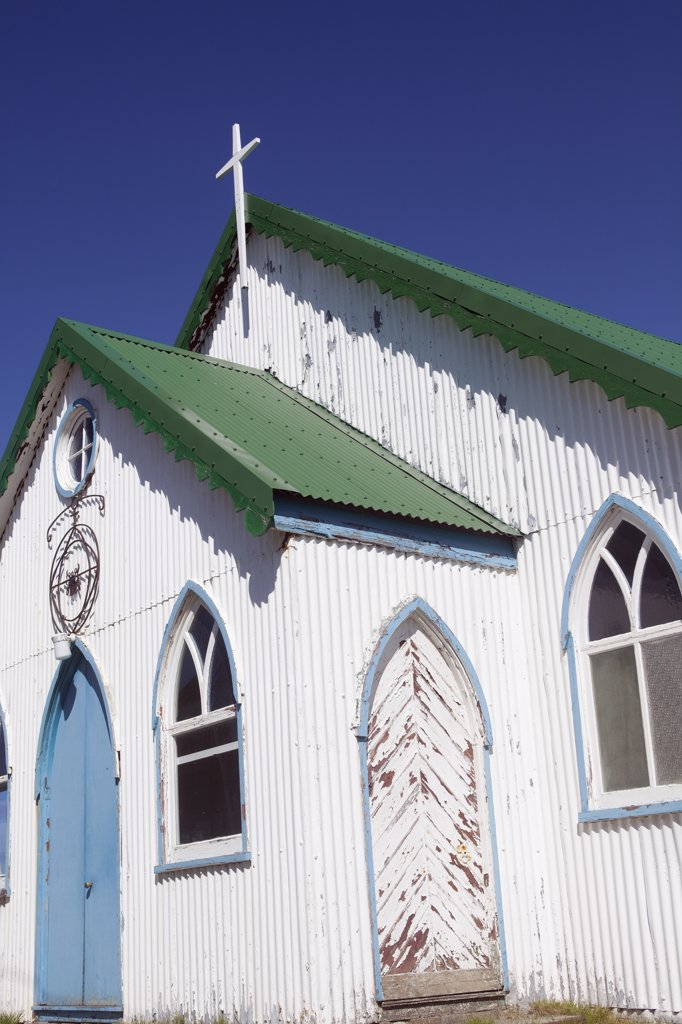 Falkland Islands, Port Stanley. A traditional corrugated iron chapel in the back streets of Port Stanley. : Stock Photo