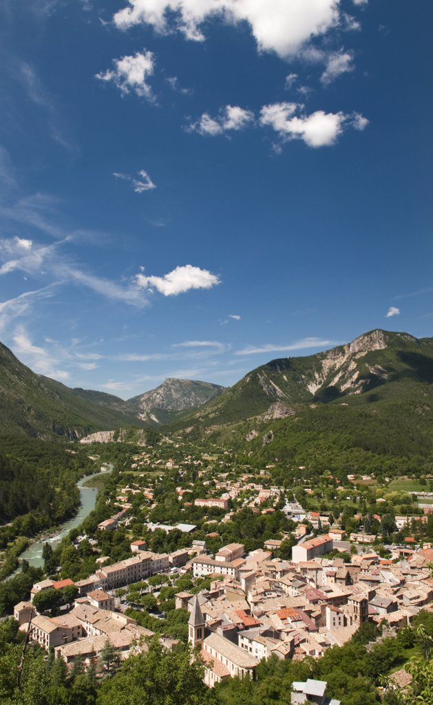 Stock Photo: 4272-11234 View to Castellane from the Notre Dame du Roc, Provence, France