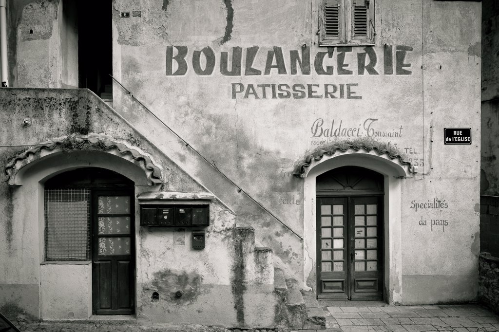 Stock Photo: 4272-11531 The facade of a bakery in Corte on the island of Corsica in France