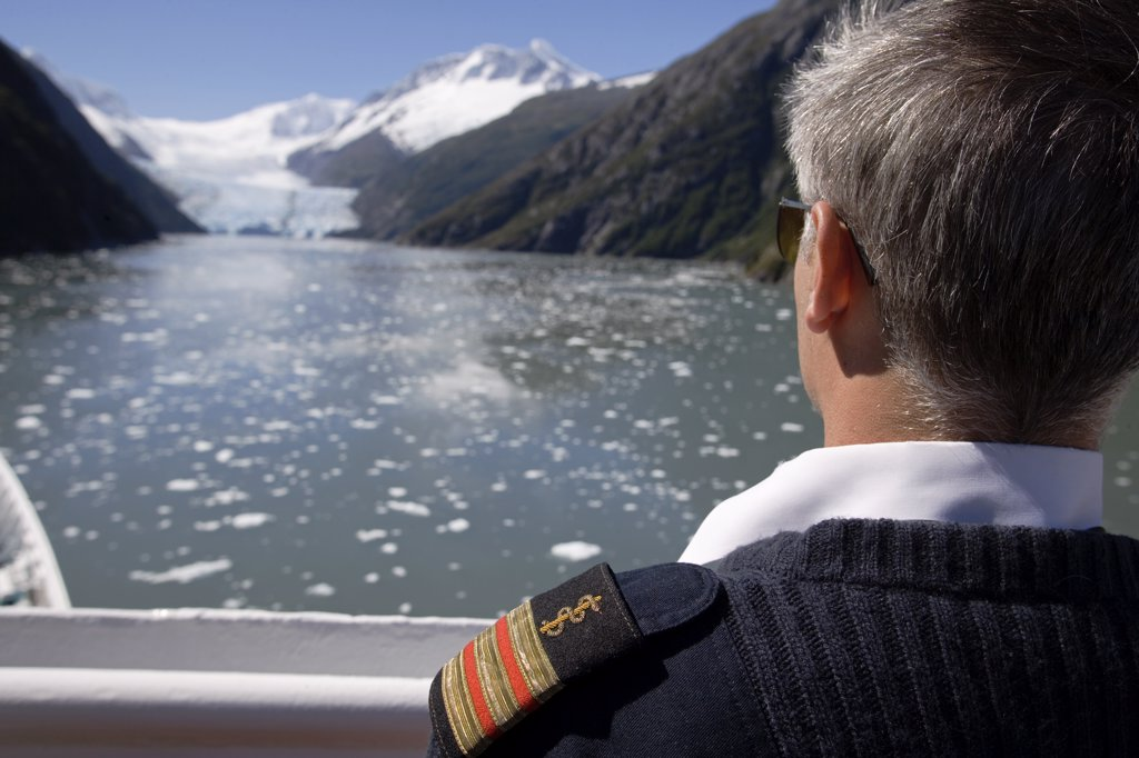 Ship doctor views ice cluttered channel towards the foot of the glacier, Tierra Del Fuego, Argentina : Stock Photo