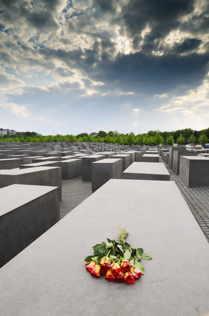 Stock Photo: 4272-11874 Roses left in the memorial to the murdered jews of Europe. The Holocaust Memorial was designed by architect Peter Eisenman. Berlin, Germany
