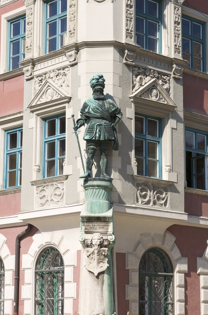 Statue on a facade of the Townhall of Mindelheim, Allgaeu, Bavaria, Germany : Stock Photo