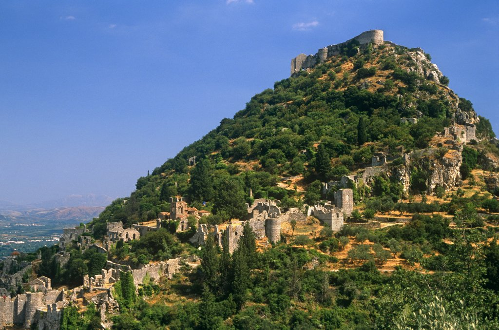 Stock Photo: 4272-12771 Greece, Peloponnese, Laconia, Mystras (aka Mystra). One-time capital of the Despotate of Morea, a province of the Byzantine empire, citadel-topped Mystras remains one of Greece's most evocative ruined cities.