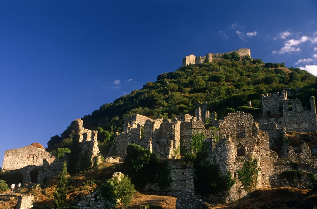 Stock Photo: 4272-12773 Greece, Peloponnese, Laconia, Mystras (aka Mystra). One-time capital of the Despotate of Morea, a province of the Byzantine empire, citadel-topped Mystras remains one of Greece's most evocative ruined cities.