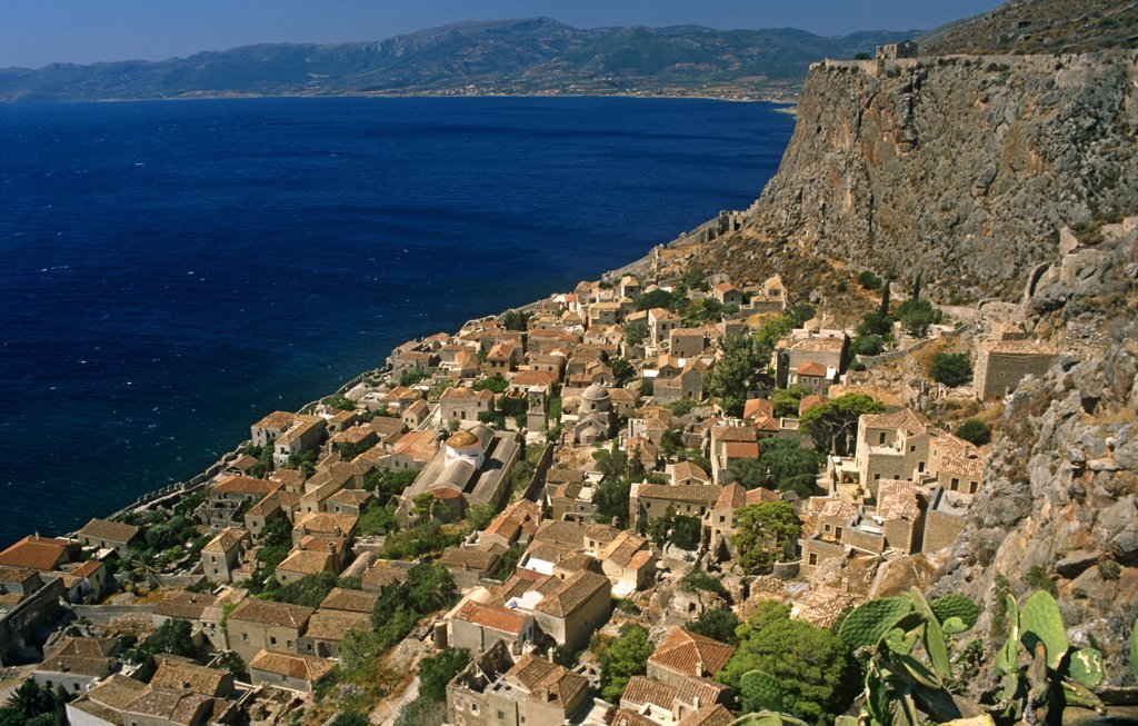 Stock Photo: 4272-12775 Greece, Peloponnese, Laconia, Monemvasia. Spectacular views of the Lower Town are had from the Upper Town of Monemvasia, an ancient coastal fortress city once ruled by the Byzantine and Venetian empires.