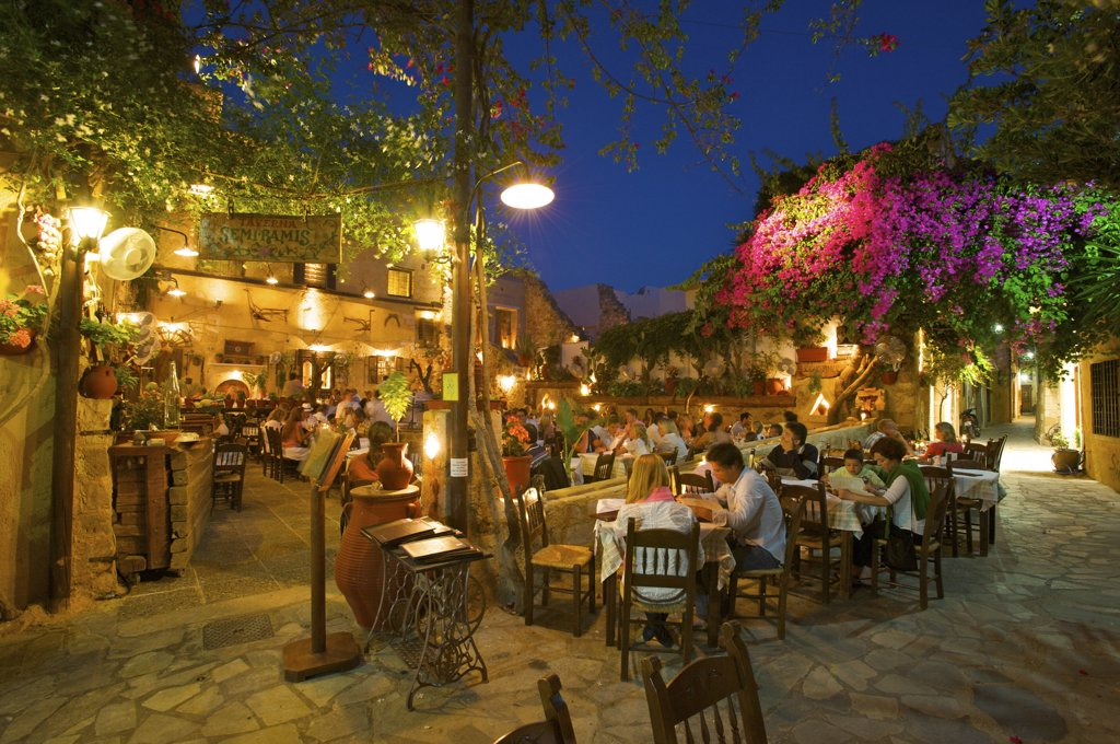 Stock Photo: 4272-12853 Taverns in the Old Town of Chania, Crete, Greece