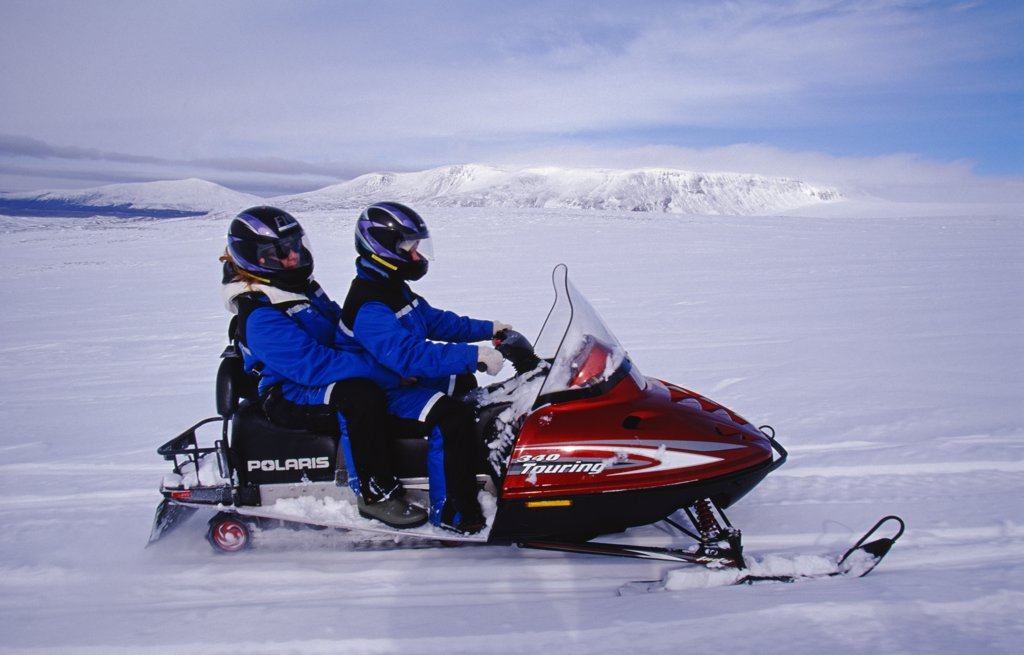 Stock Photo: 4272-13195 Skidoo crossing the Langjokull Icecap.