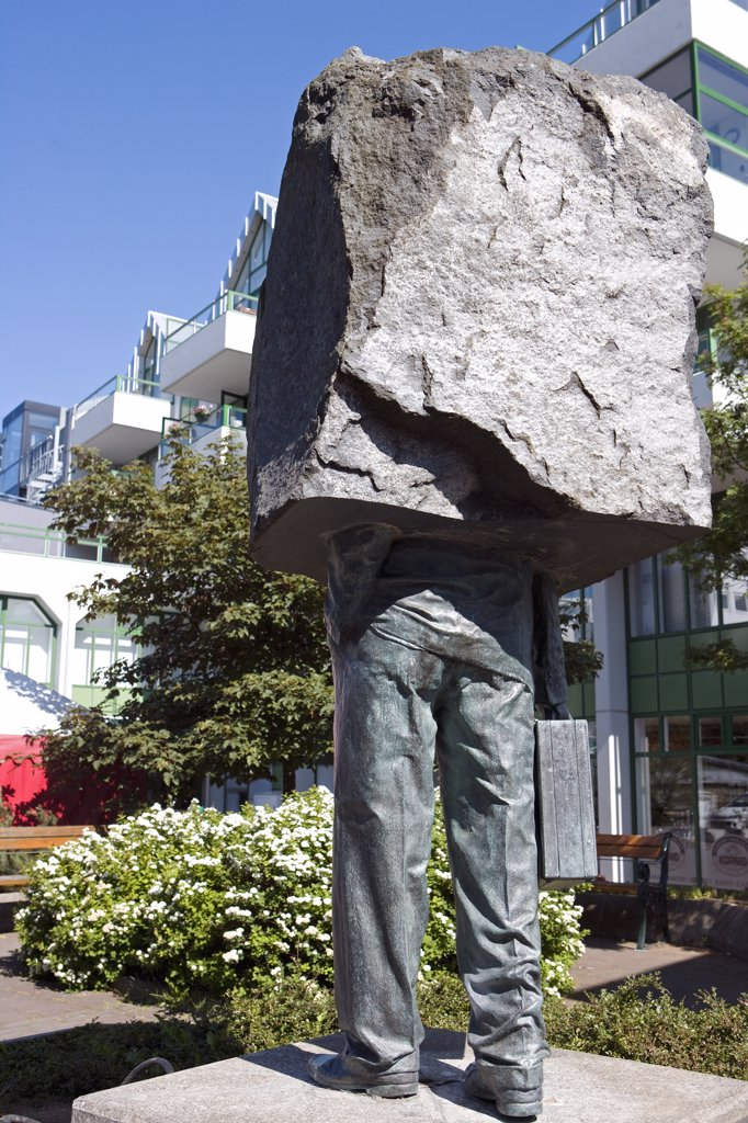 Iceland, Reykjavik. The country's capital has a great reputation for outside art - this statue in a tucked away square is one of the more unusual. : Stock Photo