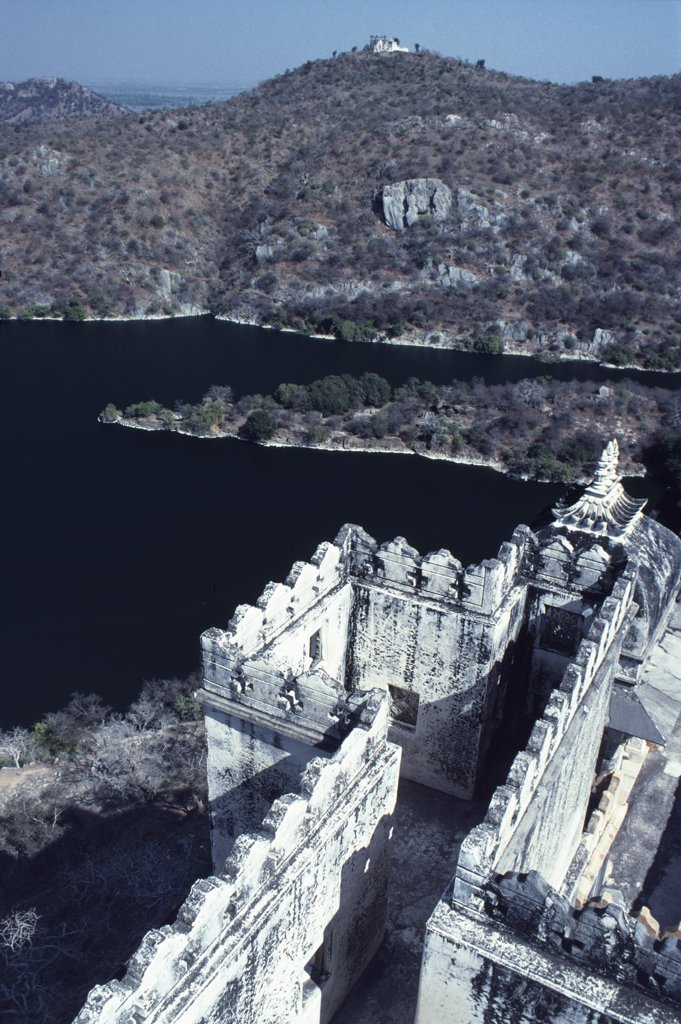 Stock Photo: 4272-13519 India, Rajasthan, Jaisamand Lake Udaipur. Dammed in the 17th century by Maharana Jai Singh, stark hillsides now enclose Jaisamand Lake. A huge artificial lake, reputedly one of the largest in Asia.