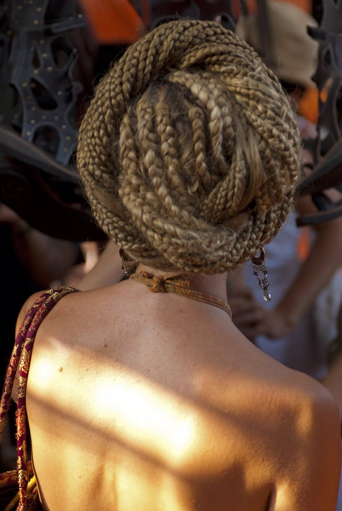 Stock Photo: 4272-13913 India, Goa, Anjuna market. Dreadlocks.