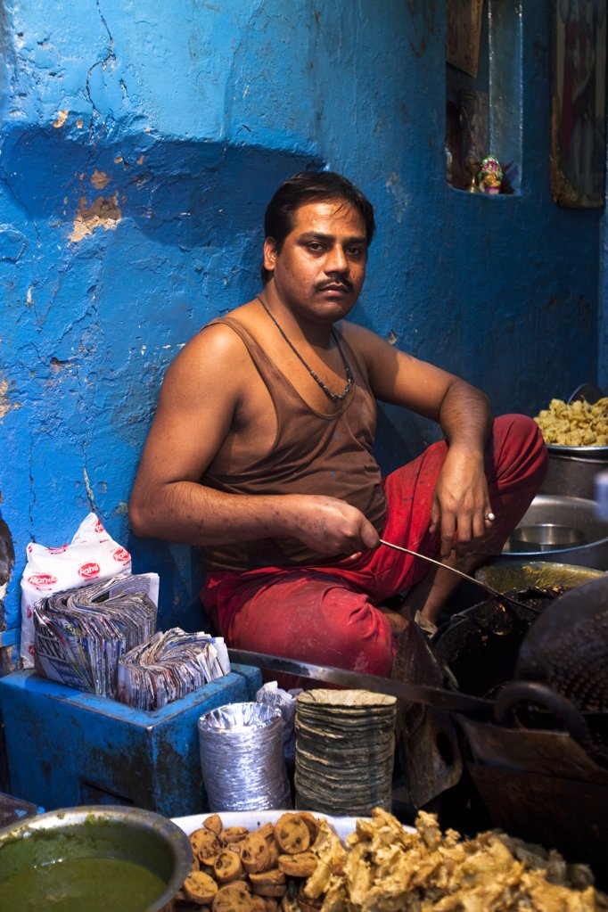 A food stall in Old Delhi, India : Stock Photo