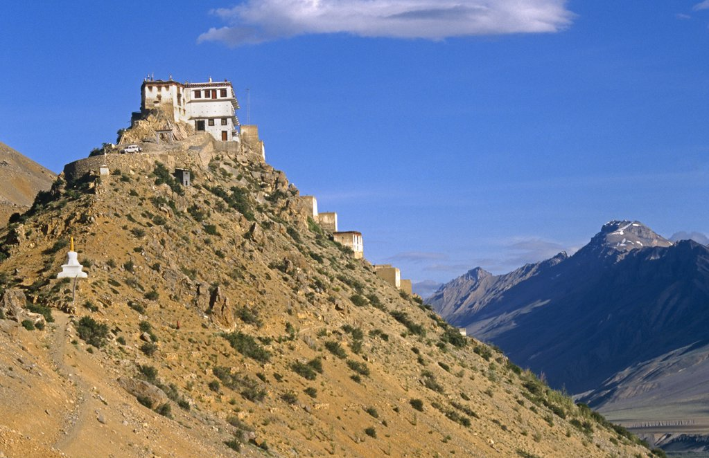 Stock Photo: 4272-14328 India, Himachal Pradesh, Spiti,  Ki Monastery. Founded in the 16th century, Ki Gompa, or Monastery, is the largest in the remote region of Spiti.