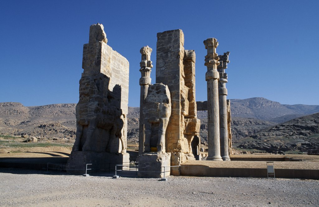 Stock Photo: 4272-14515 Iran, Persepolis. Gate of Xerxes, Persepolis, near Shiraz.  Once covered an area of over 600 square metres.  The remaining doors are still covered with inscriptions and carvings in ancient Elamite, as well as many other languages.