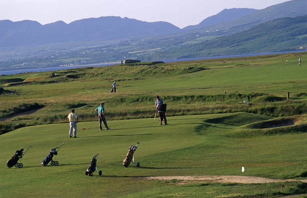 Stock Photo: 4272-14572 Ireland, Donegal. Buncrana Bay Golf Course, Inishowen Peninsula.