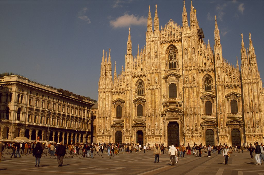 Stock Photo: 4272-14727 Piazza del Duomo and the Duomo the largest Gothic Cathedral in the world with135 spires.