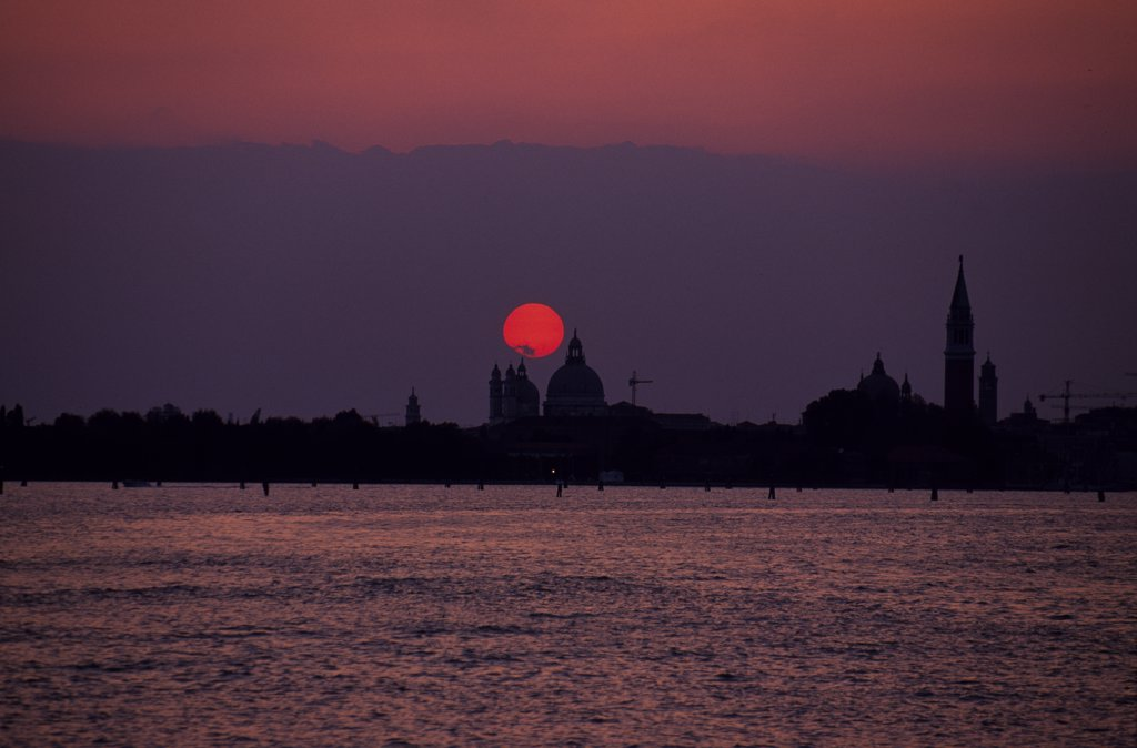 Stock Photo: 4272-14756 Sunset behind the domes of the Santa Maria della Salute.