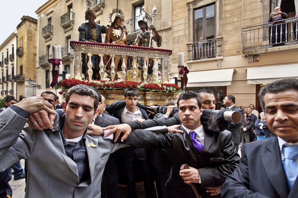 Stock Photo: 4272-15393 Good Friday procession, Misteri Prozession, Trapani, Sicily, Italy