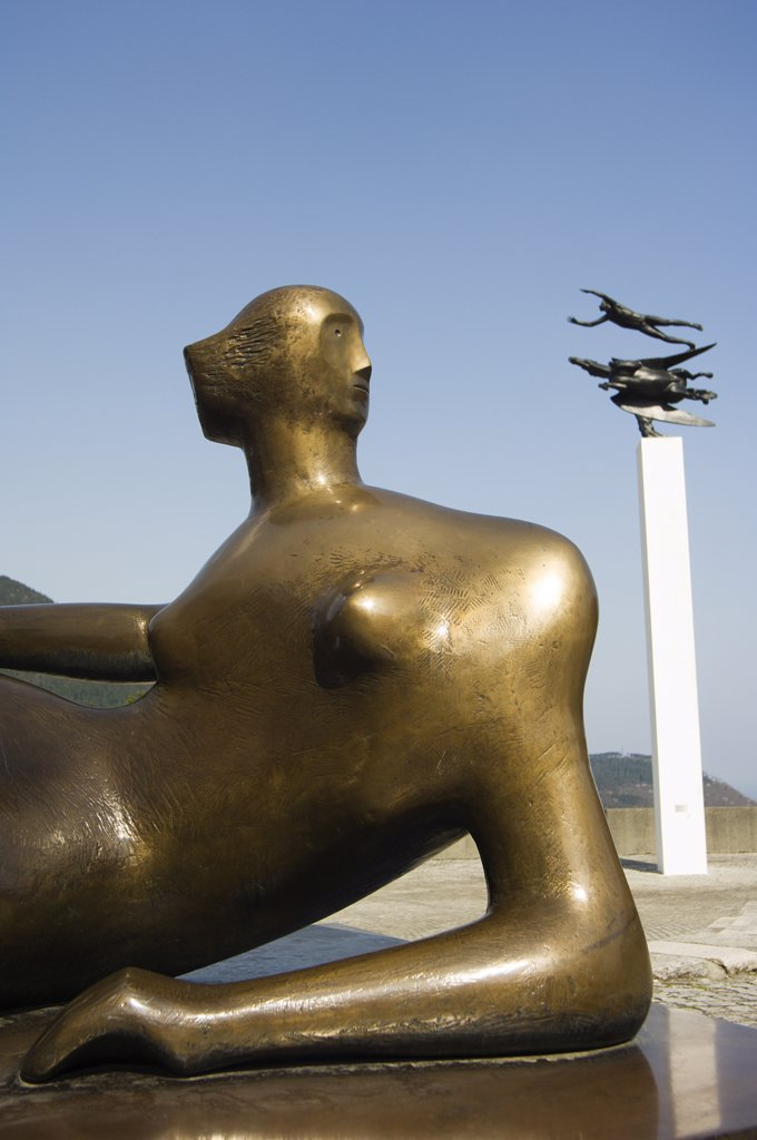 Modern sculptures and art displays at Hakone Open Air Museum : Stock Photo