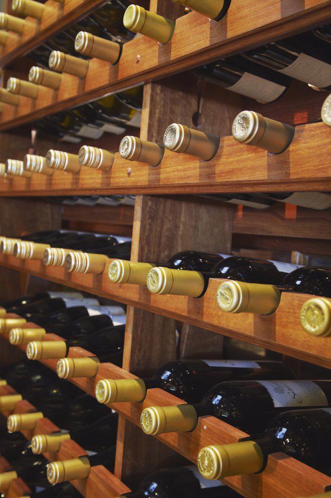 Bottles of wine in Salitage winery, Pemberton, Western Australia, Australia : Stock Photo