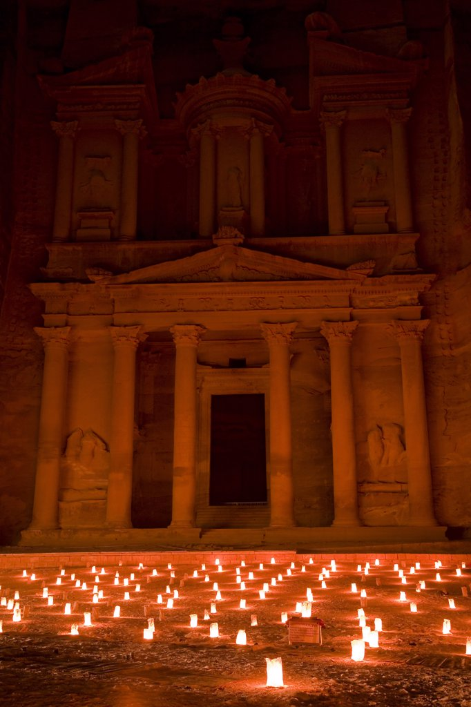 Stock Photo: 4272-15875 The Treasury, also known as Al Khazneh, illuminated by candles for 'Petra by Night', Petra, Jordan