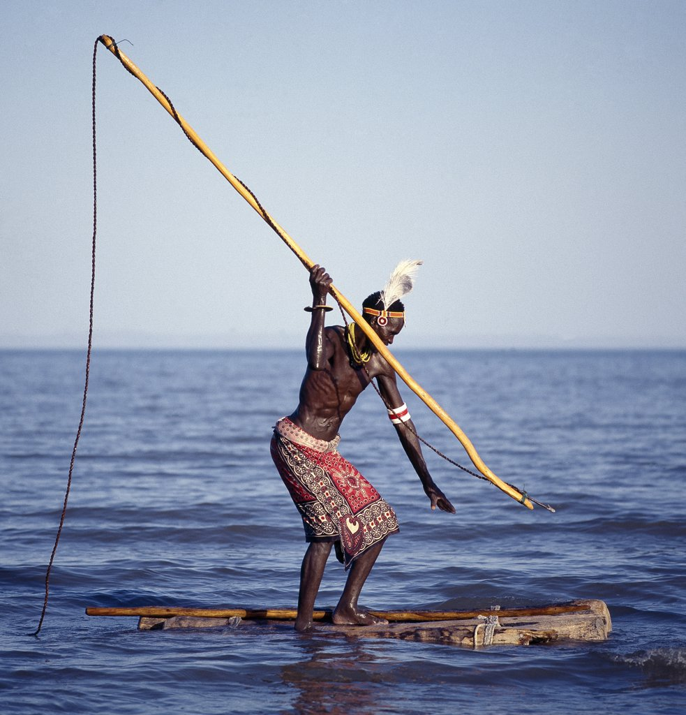 The Turkana spear-fish in the shallow waters of Lake Turkana. The wooden shaft has a detachable metal tip with a sharp barb, which is secured to the end of a long piece of rope.  Here, a fisherman waits motionlessly at the ready while standing on a raft made from four or five doum palm logs lashed together. : Stock Photo