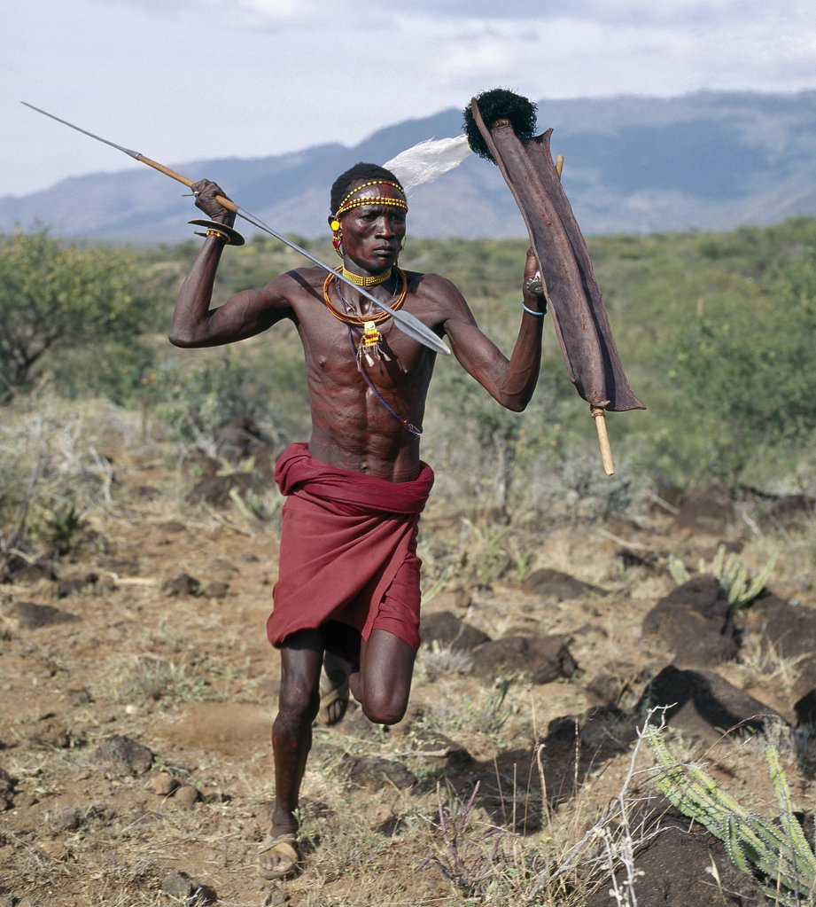 The traditional weaponry of the Turkana warriors consisted of a long-shafted spear with a narrow blade, a small rectangular shield made of giraffe or buffalo hide, a wrist knife worn round the assailant's right wrist and one or two finger knives for gouging out an enemy's eyes. They must have been an awesome sight in full battle cry. Modern arms have now replaced the old ways of fighting. : Stock Photo