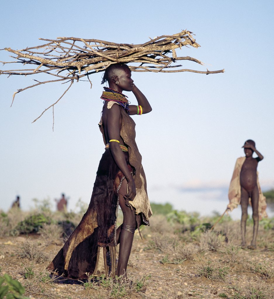 Stock Photo: 4272-16308 In the semi-arid terrain of Turkanaland, women have to travel great distances to collect firewood. Like other Nilotic people, Turkana women balance heavy loads on their heads with graceful carriage and poise. The attire of this woman is typical of married women in the tribe.