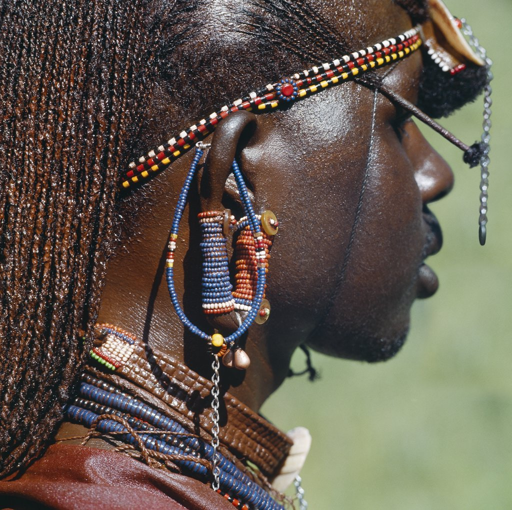 Stock Photo: 4272-16371 Detail of a Maasai warrior's ear ornaments and other beaded or metal adornments.  The Maasai practice of  piercing ears in adolescence and gradually elongating the lobes is gradually dying out. This warrior's body and his long braids have been smeared with red ochre mixed with animal fat.