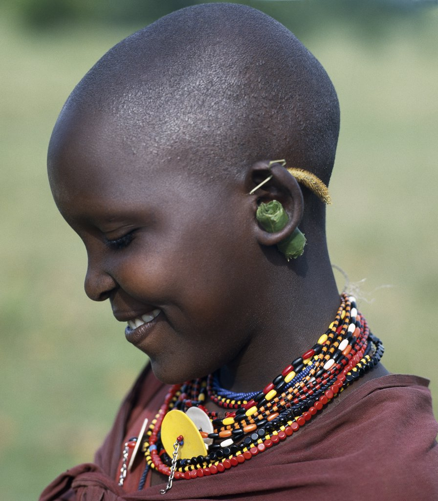 Stock Photo: 4272-16395 A young Maasai girl keeps the holes in her pierced ears from closing with grass and rolled leaves.  She will gradually stretch her earlobes by inserting progressively larger wooden plugs. By tradition, both Maasai men and women pierce and elongate their earlobes for decorative purposes.