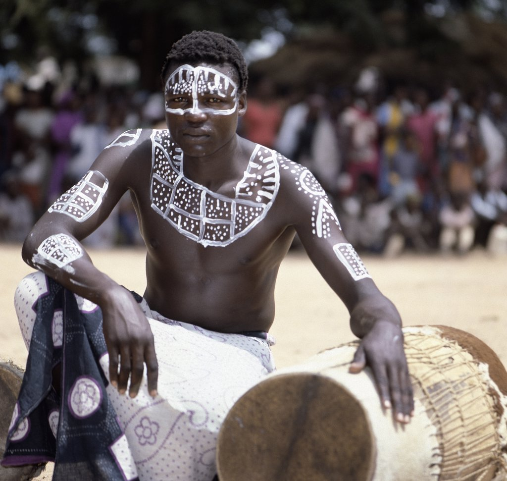 Stock Photo: 4272-16408 A Pokomo drummer from the Tana River district of Kenya.