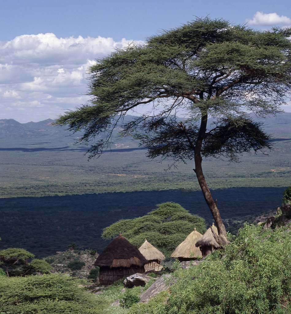 Stock Photo: 4272-16501 Traditional Marakwet houses built on the rocky eastern slopes of the Cherangani Hills have a fine view across the Kerio Valley.