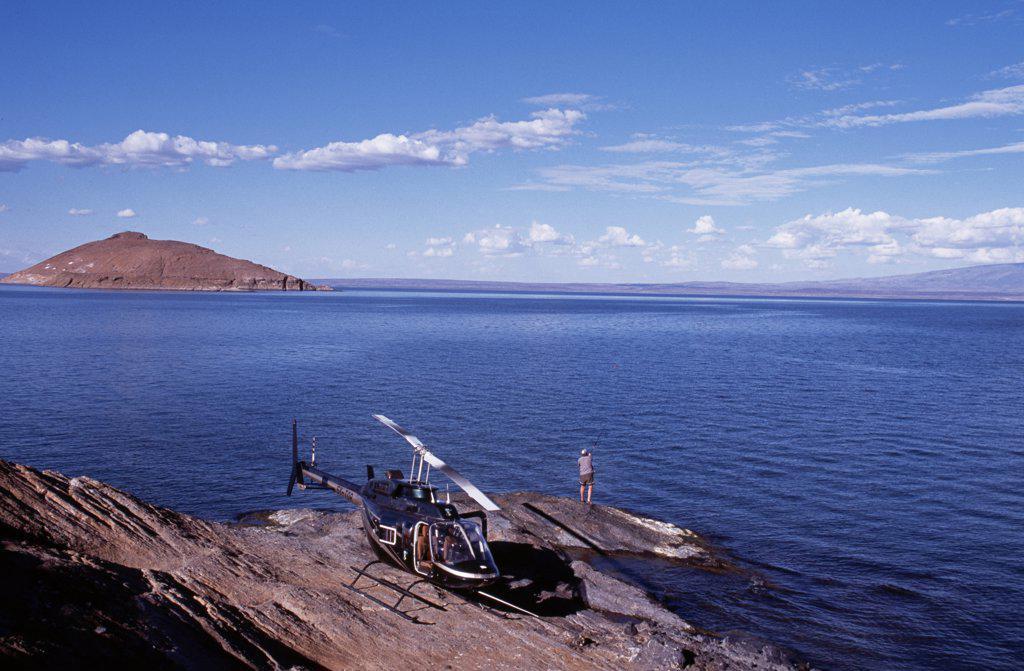 Heli-Fishing on Lake Turkana for Nile perch. : Stock Photo
