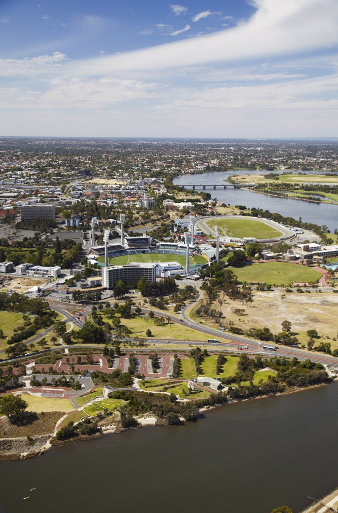 Stock Photo: 4272-1700 Aerial view of WACA cricket ground and Swan River, Perth, Western Australia, Australia