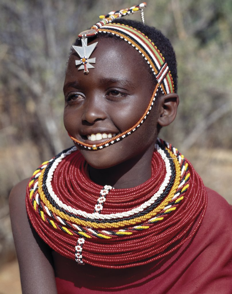 A pretty Samburu girl in traditional attire. : Stock Photo
