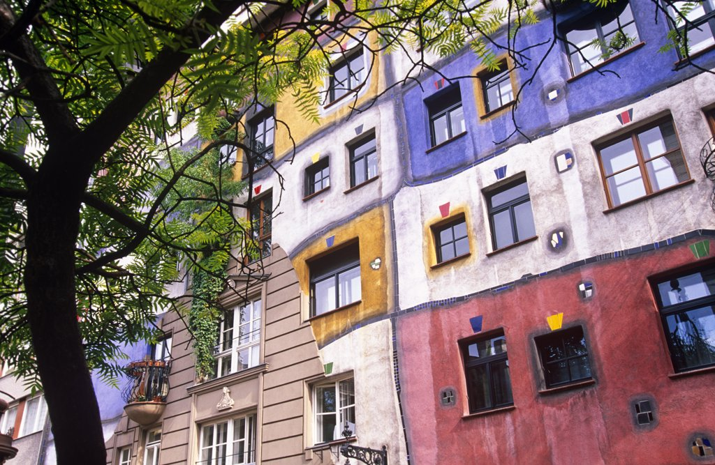 Stock Photo: 4272-1707 Austria, Vienna. The Hundertwasser Haus. This is an apartment house designed by Austrian artist Friedensreich Hundertwasser.