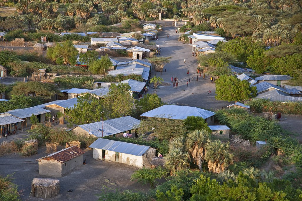 An aerial view of the small town of Loiengalani which is situated beside springs near the eastern shores of Lake Turkana. : Stock Photo