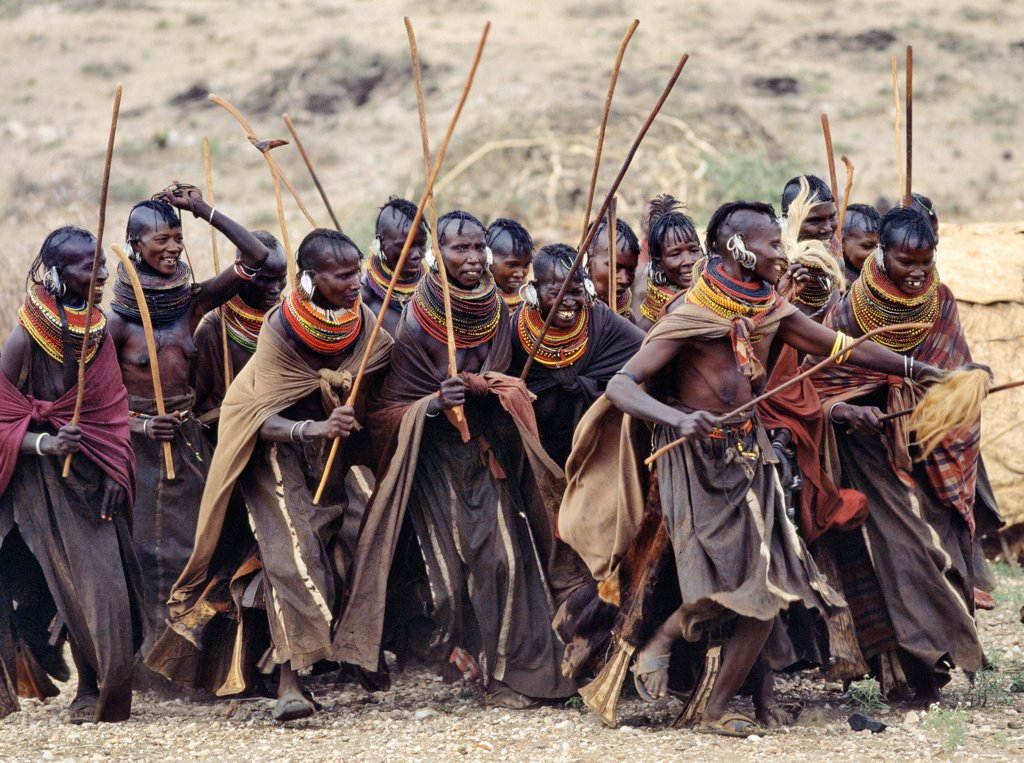 Stock Photo: 4272-18038 Turkana women dance in jovial mood during the wedding celebrations of a neighbour.