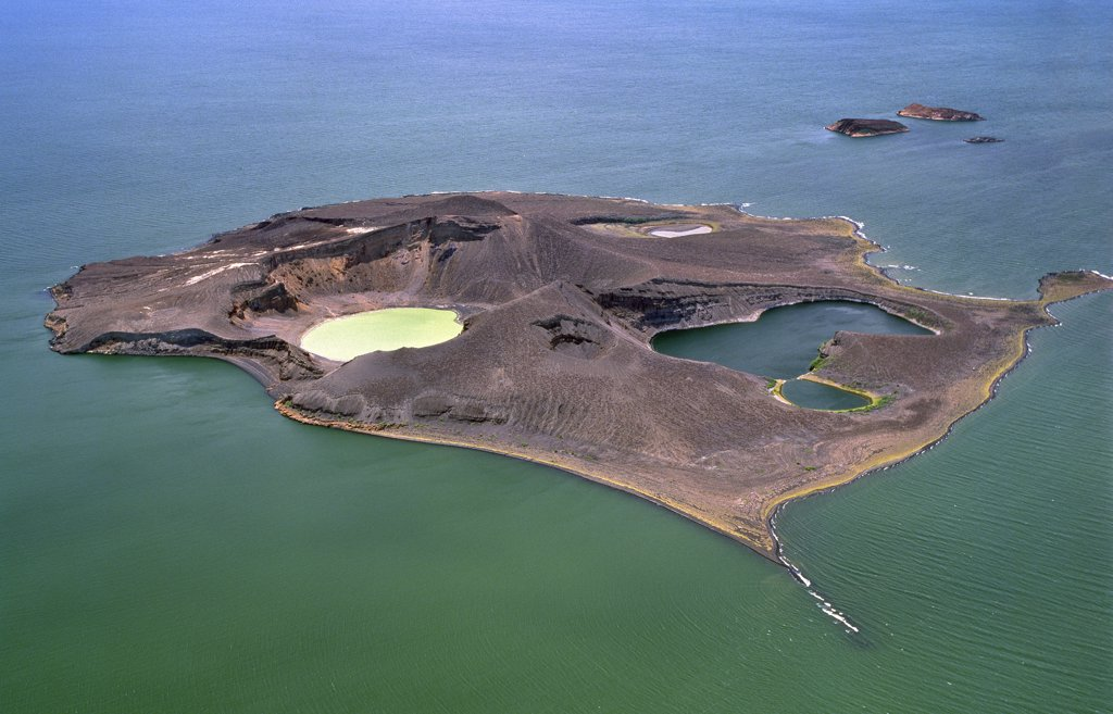 Stock Photo: 4272-18042 An aerial view of Central Island, Lake Turkana showing its two large crater lakes of volcanic origin which are replenished from the main lake by underground seepage.