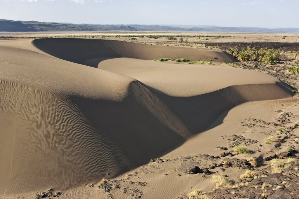 A large barchan dune on the edge of the Suguta Valley. : Stock Photo