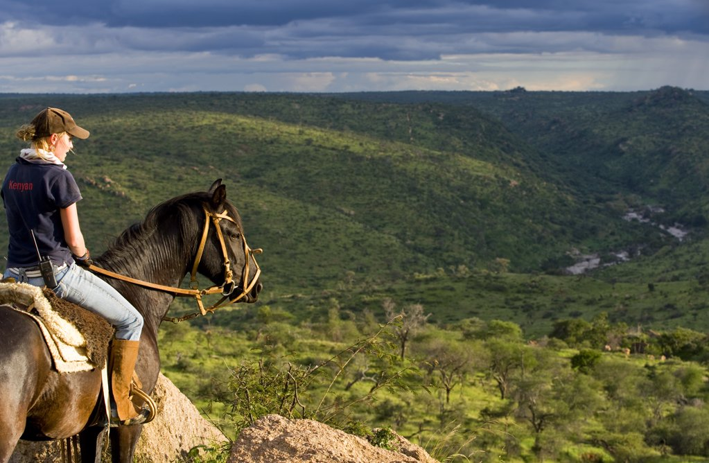 Kenya, Laikipia, Ol Malo.  Horse riding safari at Ol Malo. (MR) : Stock Photo