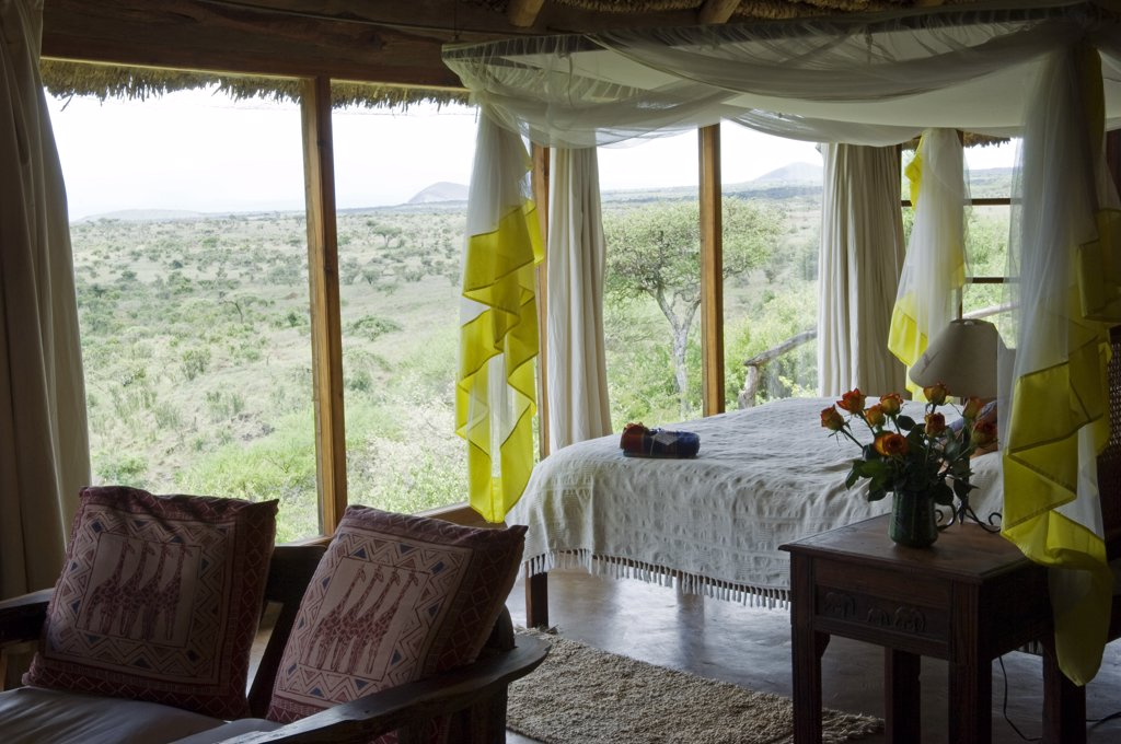 Stock Photo: 4272-19012 Kenya, Laikipia, Lewa Downs.  One of the guest bedrooms at Wilderness Trails, a luxury safari lodge run and owned by Will and Emma Craig.
