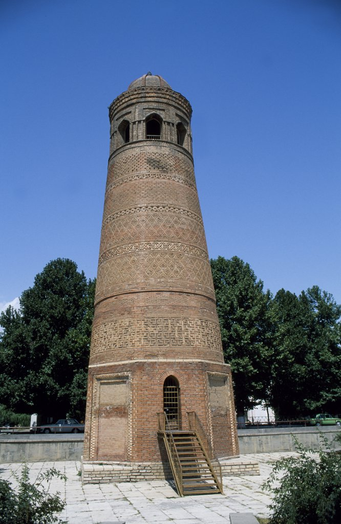 The minaret at Uzgen, Kharakhanid period, circa 11th century. : Stock Photo