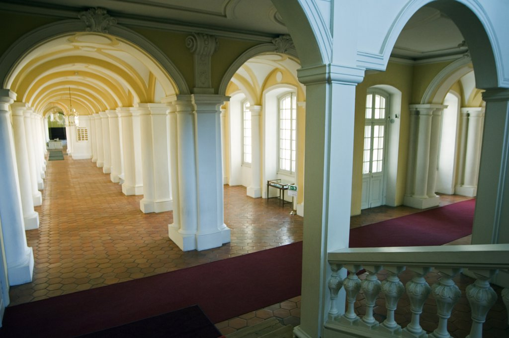Stock Photo: 4272-19348 Ornate interior corridor of the baroque style Rundales Palace (Rundales Pils) designed by Architect Bartolomeo Rastrelli Built in 18th Century for Ernst Johann von Buhren (1690-1772) Duke of Courland