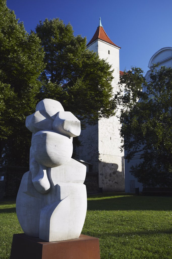 Stock Photo: 4272-19404 Sculpture in front of Riga Castle (now President's residence), Riga, Latvia